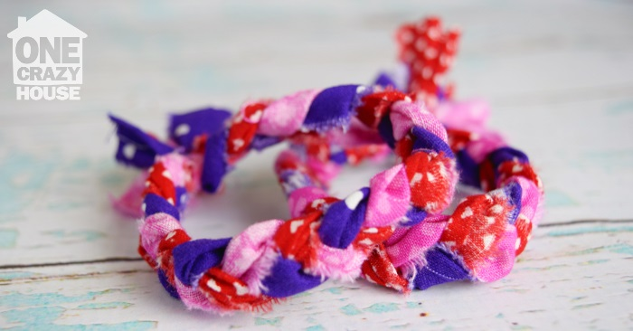 bracelets made of braided fabric sitting on a table