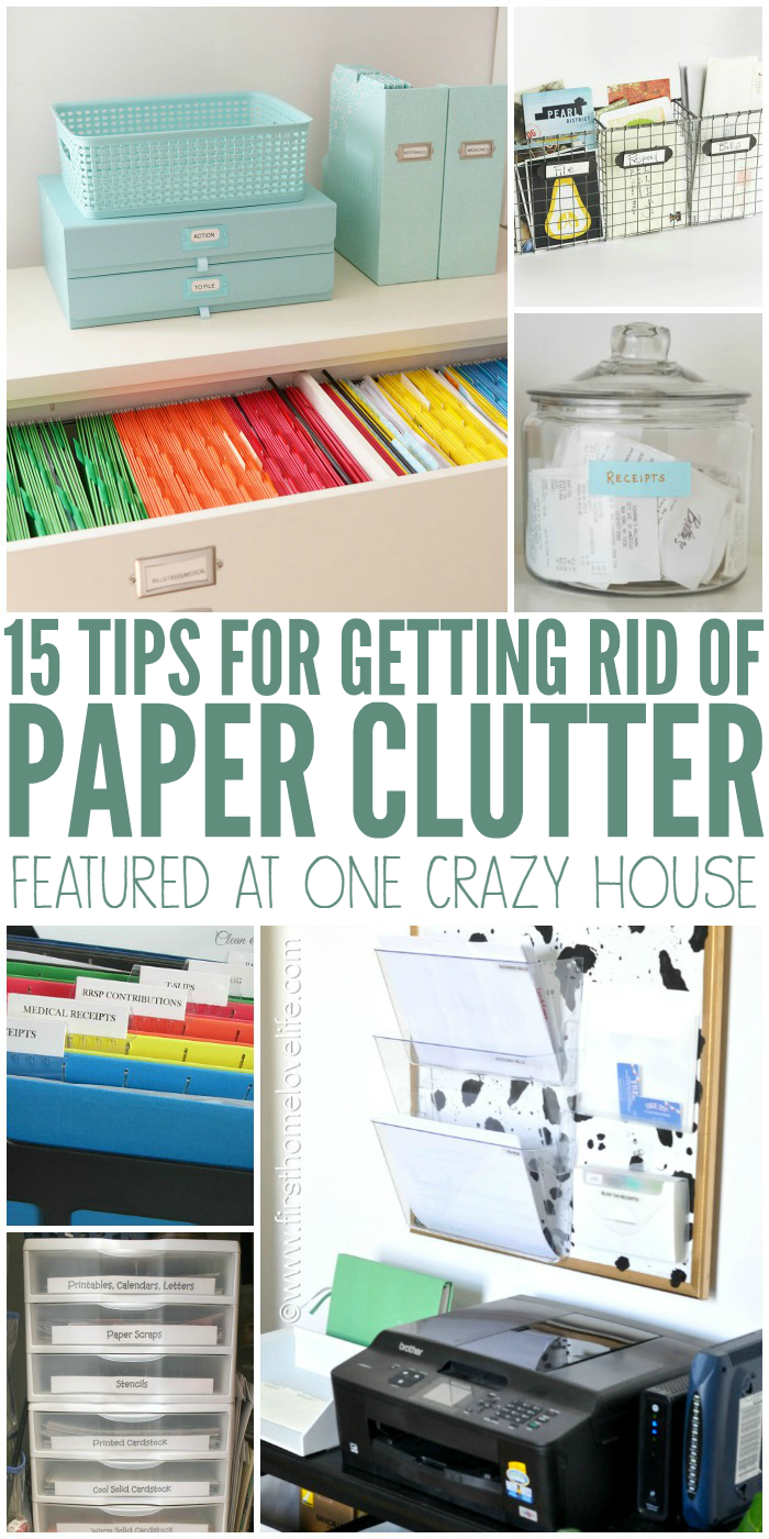 Paper Clutter, we all have it. Check out these brilliant tips and trips on how to organize and get rid of it.