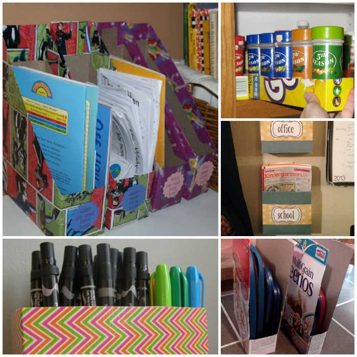 15 Ways To Make Cereal Box Organizers