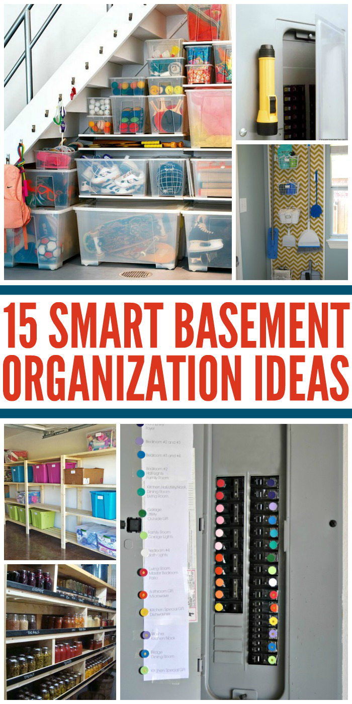 unfinished basement storage ideas.  Tips for an Organized Basement