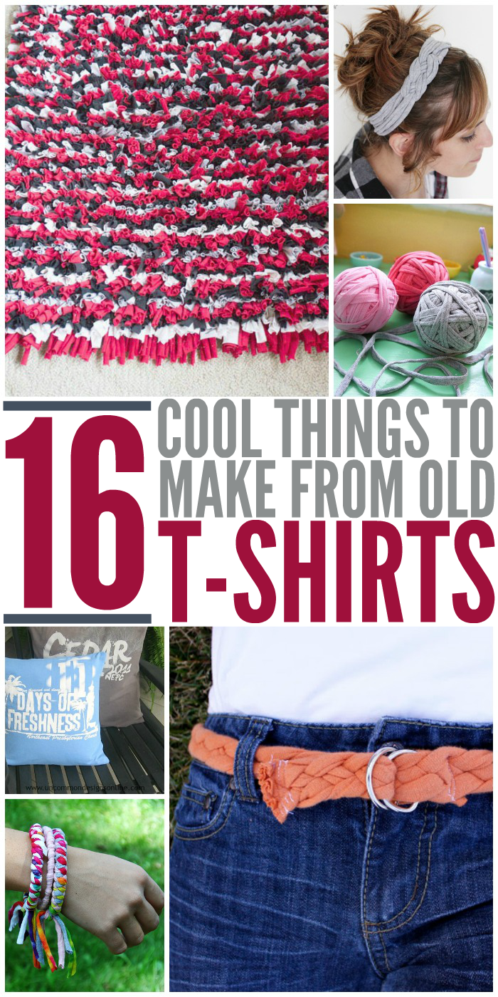 16 cool things to make from your old t shirts for Cool recycled stuff