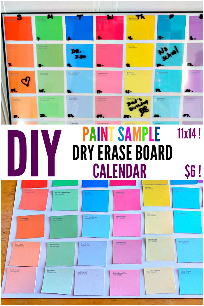 DIY dry erase calendar made with paint samples. Make this easy craft for just $6! Perfect for your home office.