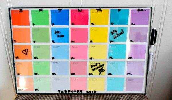 DIY Paint Sample Dry Erase Calendar