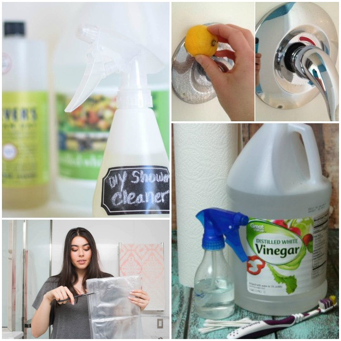 shower cleaning hacks collage