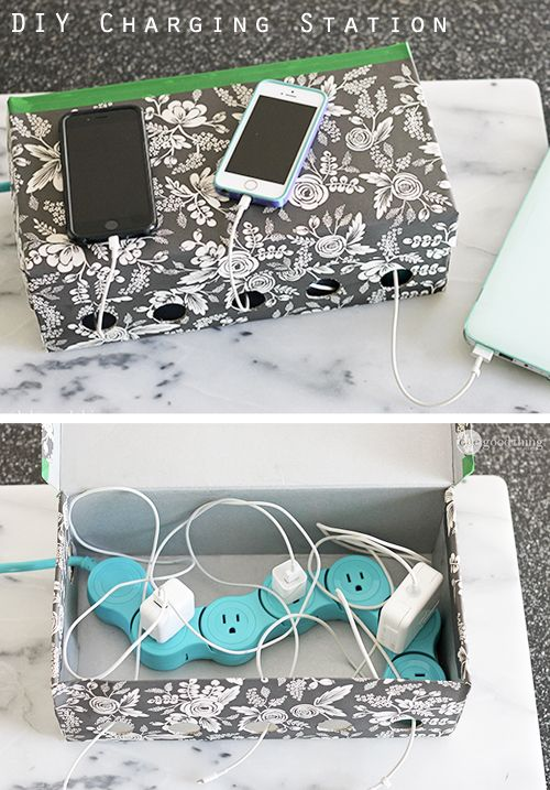 hidden storage ideas include a DIY charging station box to hold cords