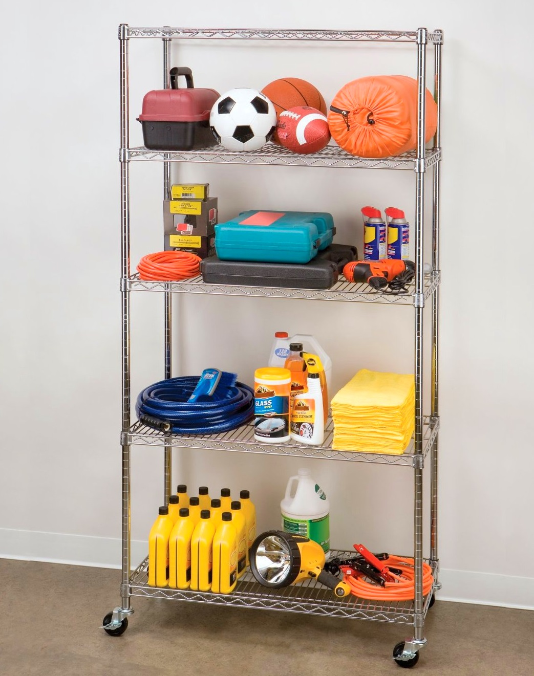 Smart Garage Organization Ideas - Use a rack to help organize clutter the garage