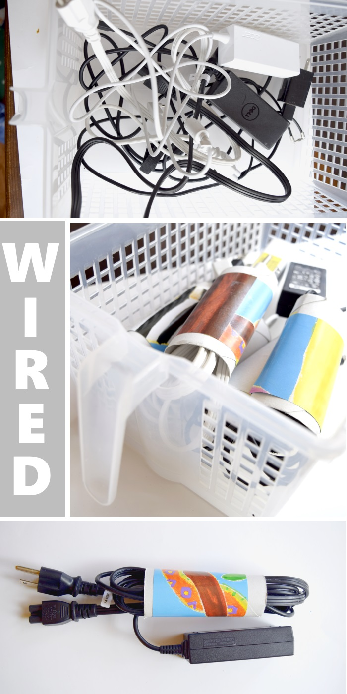 DIY Storage Ideas for Wires and Cables - Using Cardboard Tubes