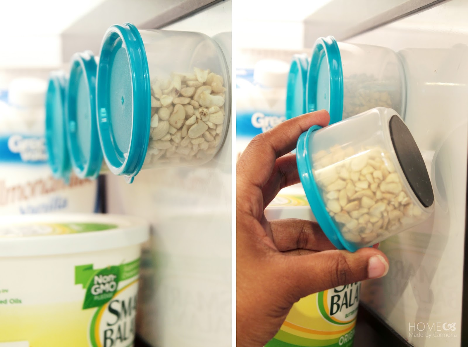 DIY magnetic containers for the refrigerator