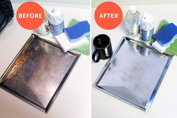 cleaning bakeware before and after collage