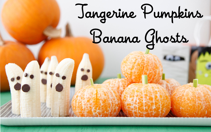 Bannana ghosts with chocolate chip eyes and tangerine pumpkins with green stems