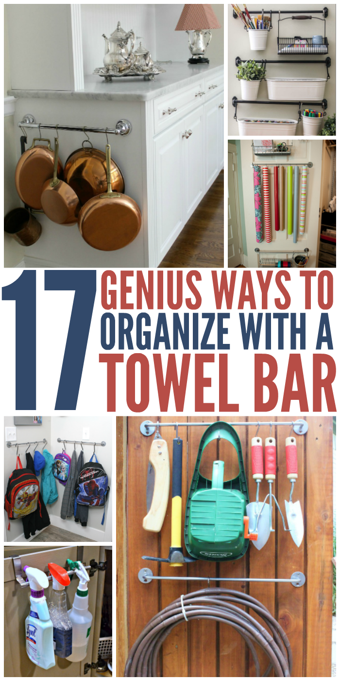 Some of these towel bar organization hacks are so practical and genius that you could smack yourself upside the forehead for not thinking of them first.