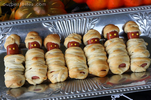 Mummies-in-a-Blanket with mustard eyes