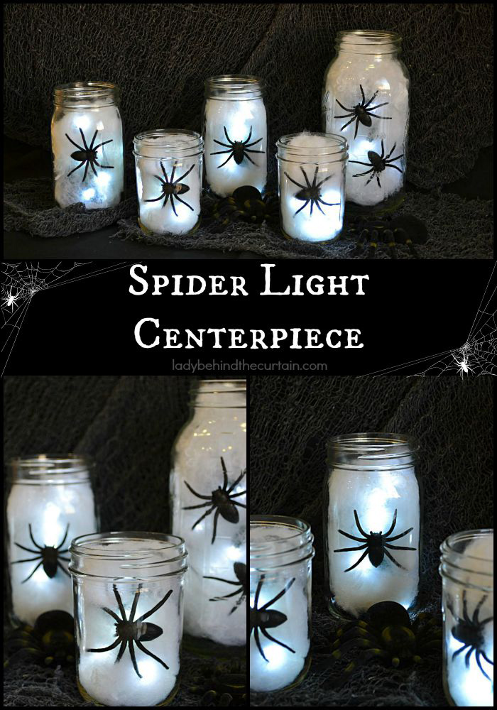 Mason jars with cotton, spiders and lights