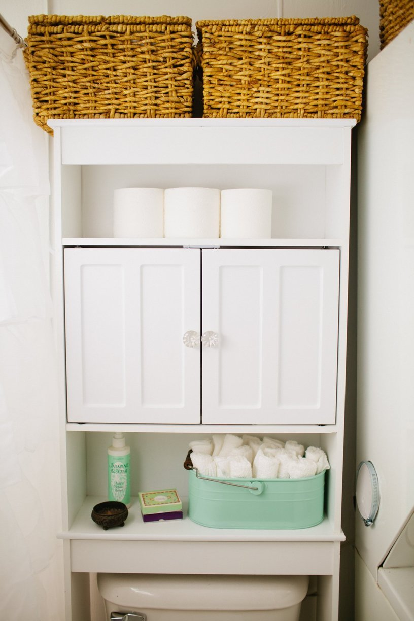Brilliant Over The Toilet Storage Ideas - Bathroom towel storage over toilet for small bathroom ideas