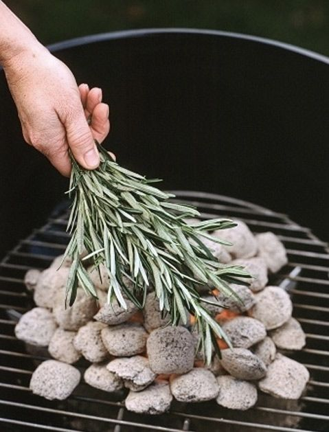 hand putting fresh lavender sprigs on a hot charcoal grill