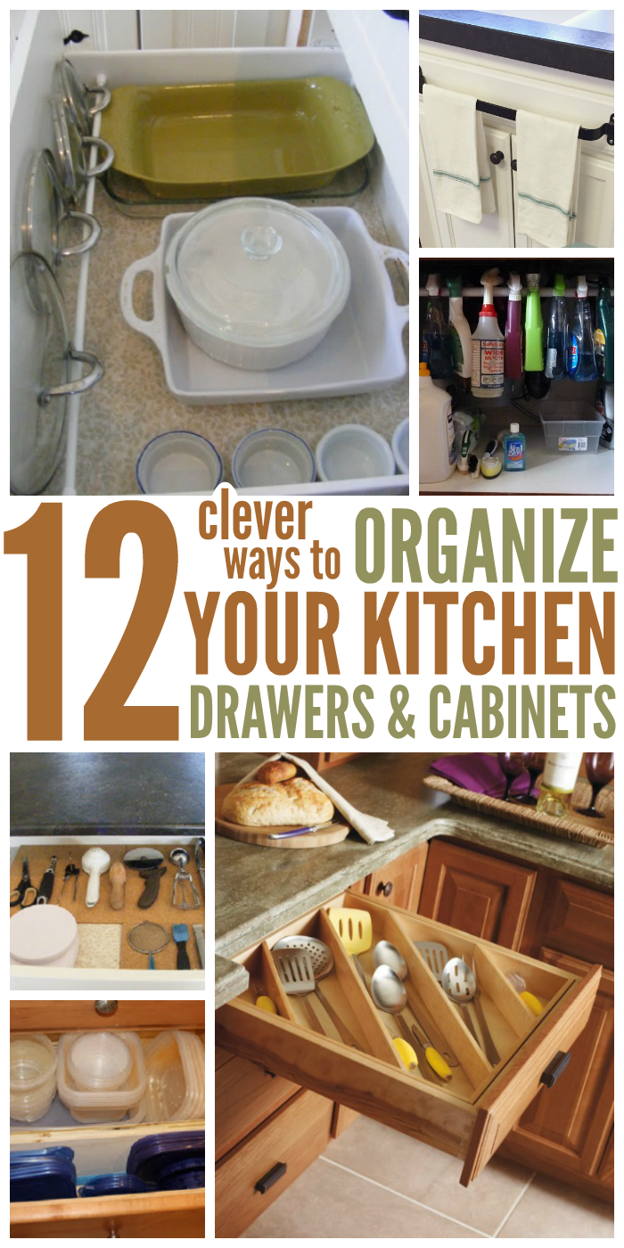 There are a number of ways you can tidy up your kitchen drawers and cabinets
