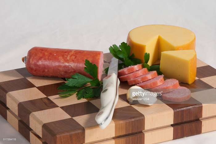 cuttingboard, meat and cheese