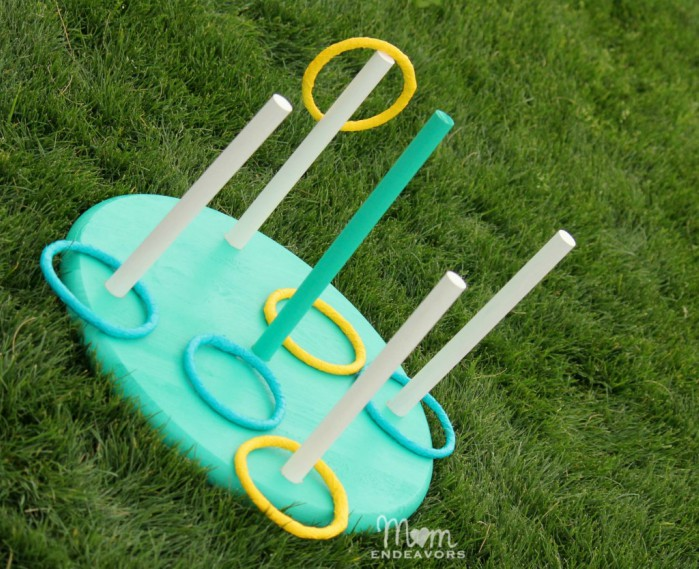 DIY ring toss game on the grass