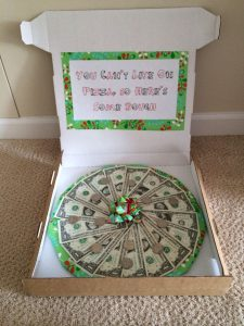 money gift in a pizza box