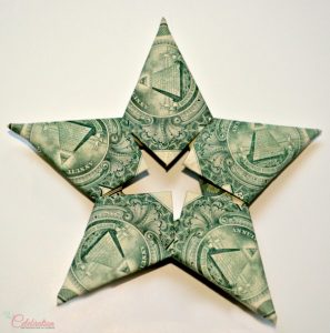 money folded into a star