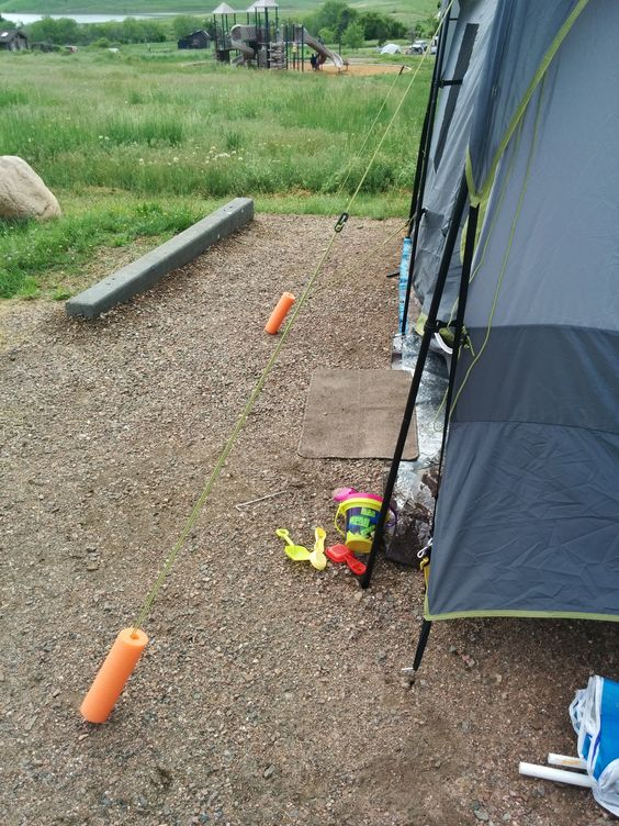 Are You Always Tripping Over Your Tent Lines Because Dont See Them Until Youre Right There Mark Off With Pool Noodles