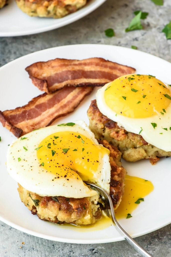 Cheesy Breakfast Stuffing Cakes