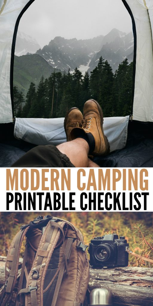 This Modern Camping Checklist is one that you'll be thankful you have! Print this off before your next camping adventure! #camping #moderncampingchecklist #onecrazyhouse #campingitems