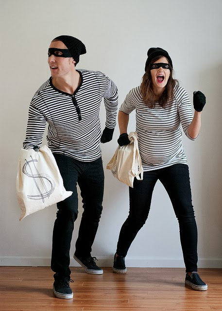 couple dressed as bank robbers
