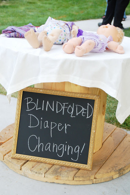 blindfolded diaper changing