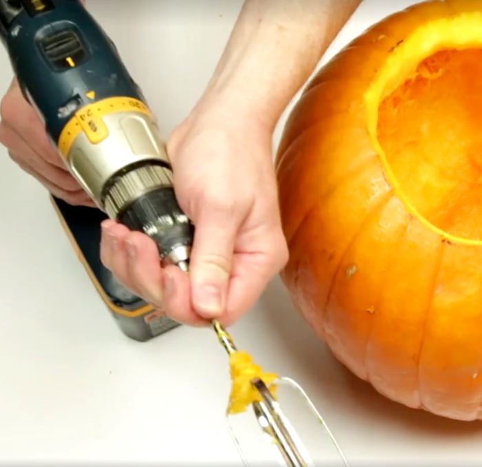 fastest way to clean out a pumpkin