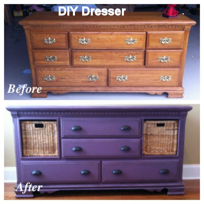 dresser with baskets