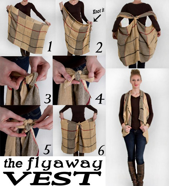 photo tutorial showing how to tie a flyaway vest with a scarf