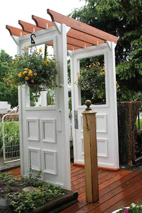 garden arbor from old doors