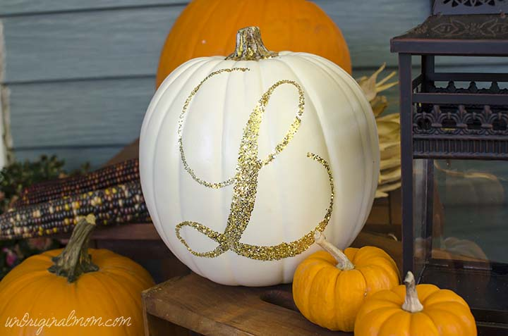17 creative no carve pumpkin decorating ideas for Monogram pumpkin templates