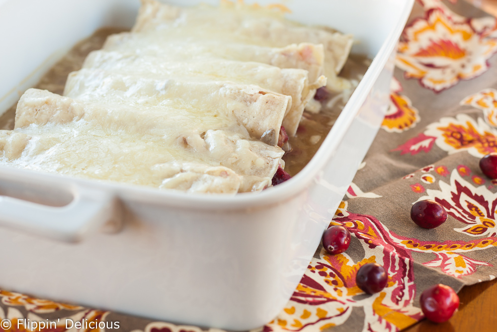gluten free cranberry turkey enchiladas