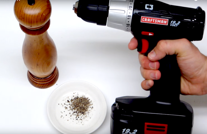 how to ground pepper with a power drill