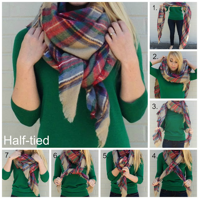 photo tutorial showing how to tie a half-tied blanket scarf