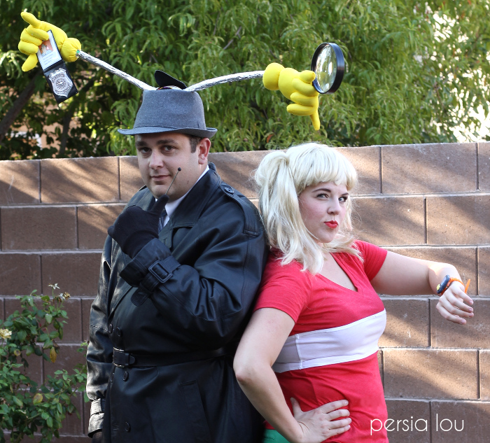 Couple dressed as Inspector Gadget and Penny