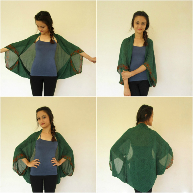 step-by-step photos showing how to make a kimono cover up from a scarf