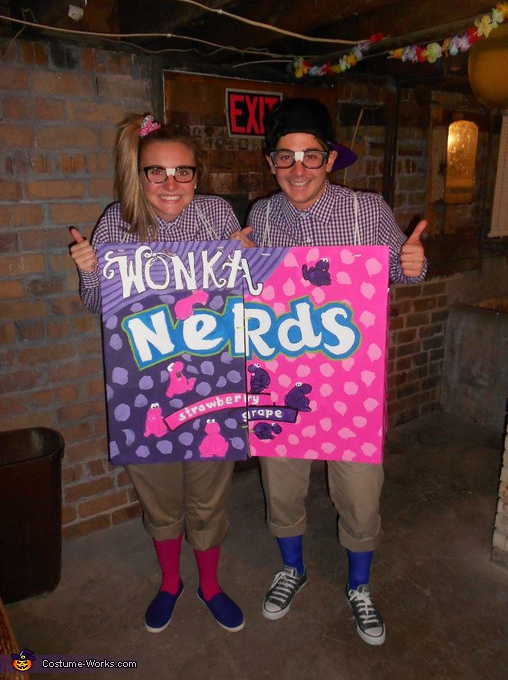 couple in a DIY nerds costume
