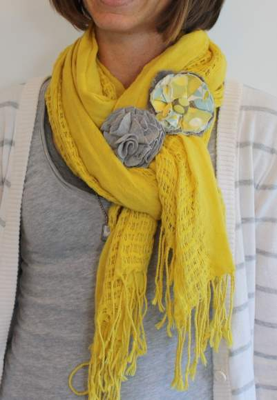 woman wearing a tied scarf with scarf accessories