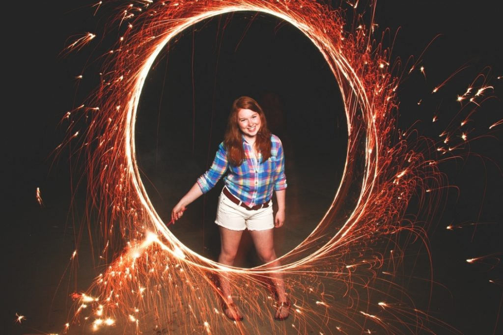 sparkler senior photo