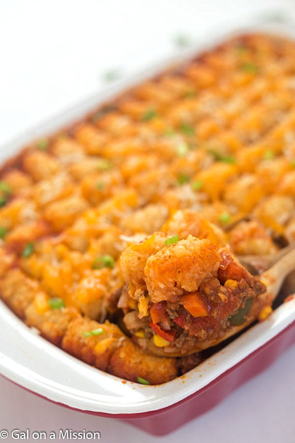 Our yummy Mexican tater tot casserole is an easy and hearty meal that your whole family will love!. This delicious taco-inspired tater tot casserole recipe is chock-full of black beans, corn, ground beef and a whole lot of flavor.