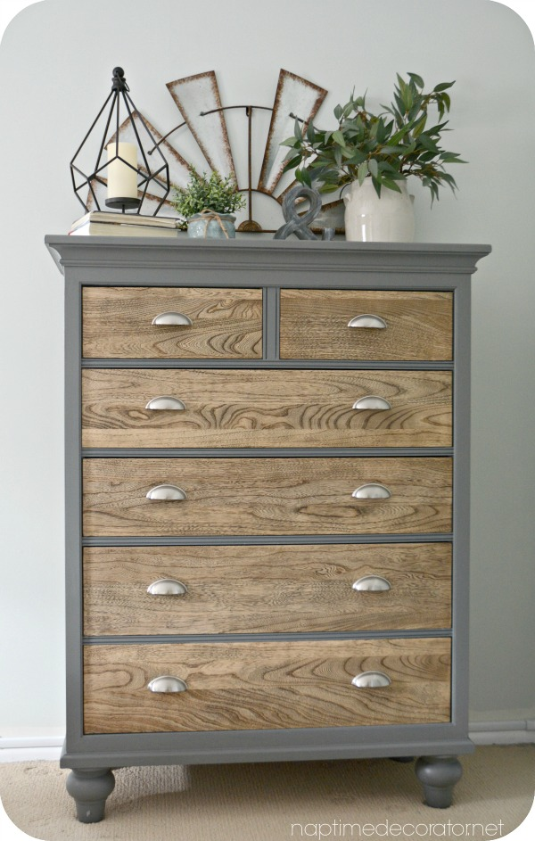 wood and gray dresser makeover