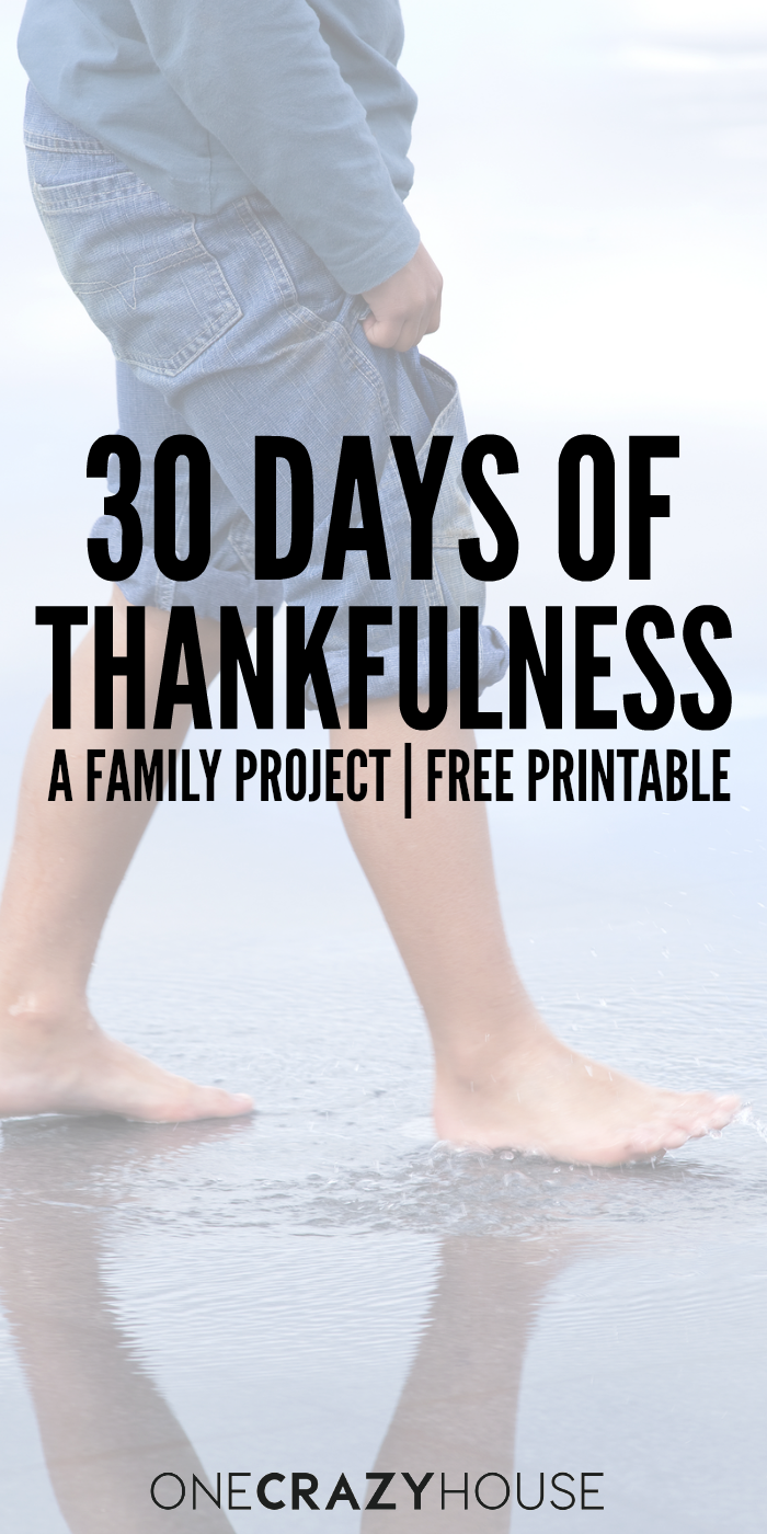 Take a moment and enjoy this family project, 30 Days of Thankfulness. Plus, we've got a free printable!