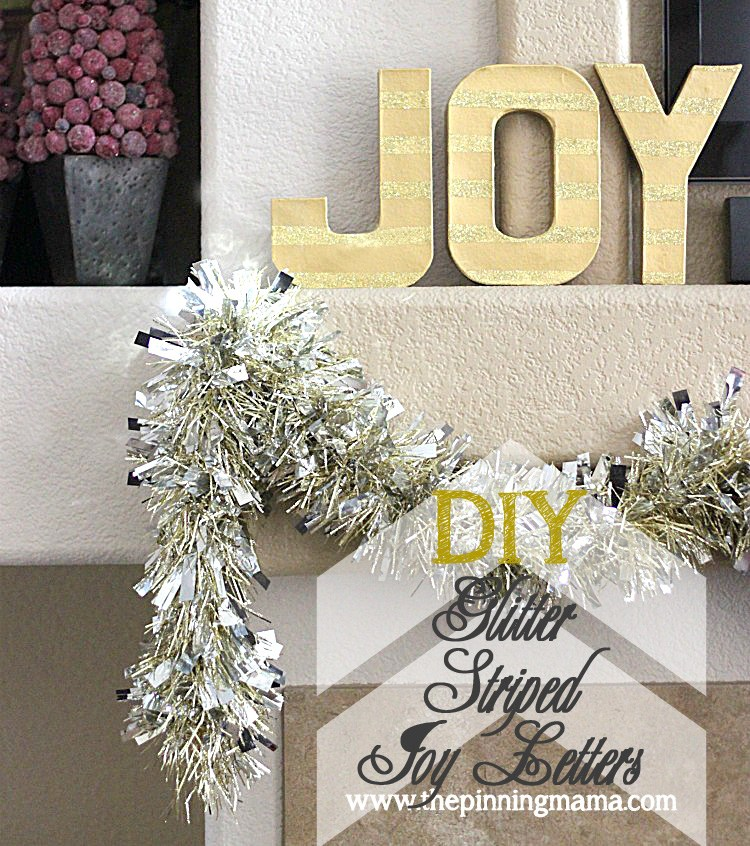 DIY Glitter Striped Joy Letters