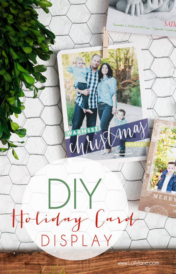 DIY Holiday Christmas Card Display | Lolly Jane
