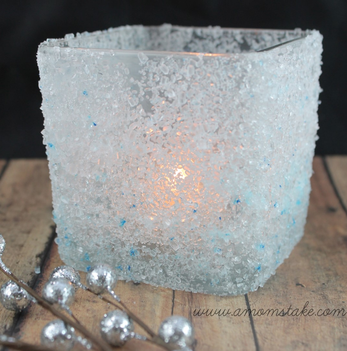 Easy Holiday Crafts DIY Frosted Candle Holder | A Mom s Take