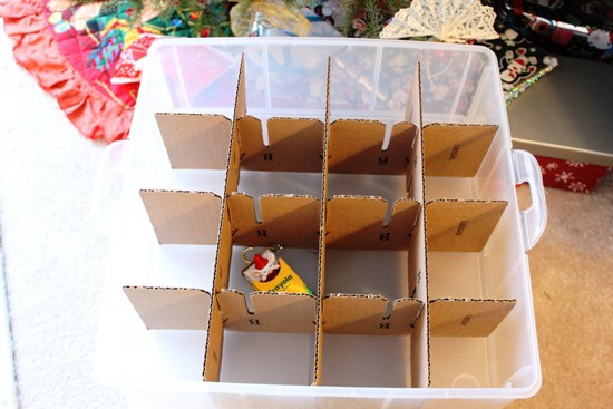 cardboard-dividers for christmas ornament storage