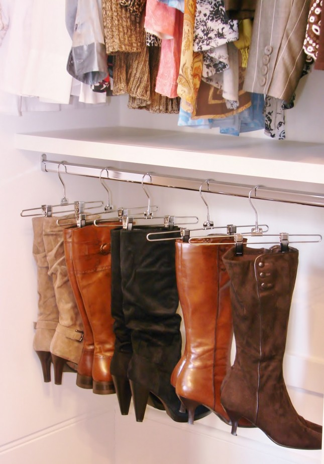 storage tips and tricks for boots: hang them in our closet.
